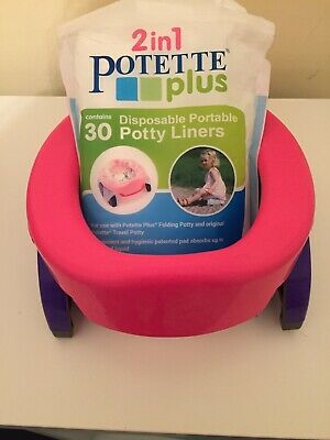 2-in-1 POTETTE PLUS TRAVEL POTTY WITH LINERS PINK/PURPLE IN EXCELLENT CONDITION