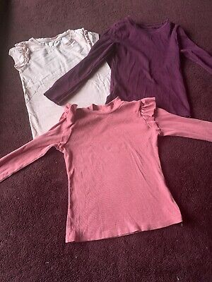3 X Girls Tops T-shirts Age 6 Years Next & Matalan Bundle winter berry pink
