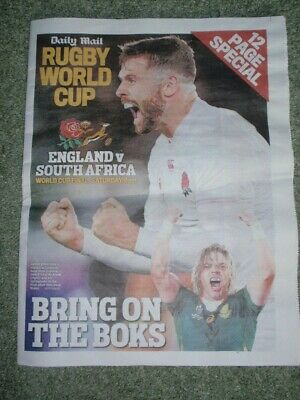 NEW:  'Daily Mail Rugby World Cup England v S.Africa' 12 Page Souvenir Pullout