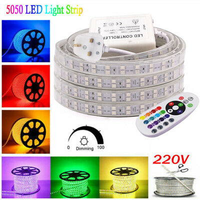 60/120LEDs 5050 SMD RGB LED Strip Rope Tape 220V Waterproof IP65 UK Plug+Remote