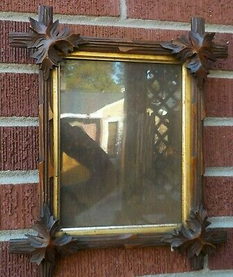 Antique ADIRONDACK Black Forest Heavy CARVED Wood Frame 6.5 x 8.5 in. fit c1880s