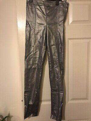 High Waisted Silver Skinny Trousers New With Tags H&M Size 10 36 Glam Rock Cool