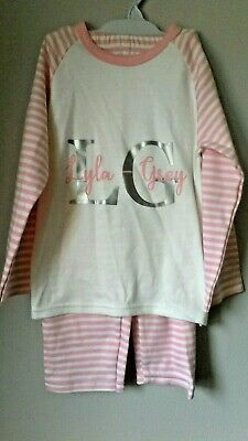 LYLA GREY Girls Pyjamas Nightwear To Fit Age 2-3 Years, Pink/White Cotton BNWT
