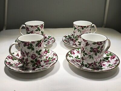 Elizabethan China 4 Coffee Cups/Saucers. Beautiful Pink Pattern. Vintage. VGC