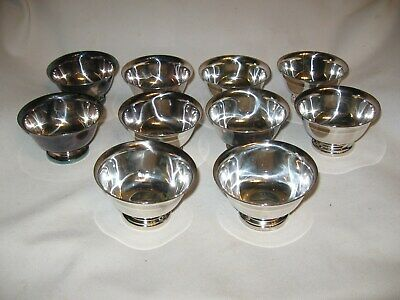 set of 10 vintage REED & BARTON Paul Revere design silver plate ice cream dishes