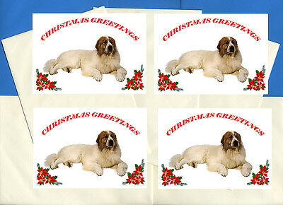 Great Pyrenees Pyrenean Mountain Dog 4 Cards Dog Print Greeting Christmas Cards