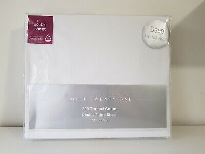 Hotel Twenty One 200 Thread Count Double Fitted Sheet BNIB 100% Cotton