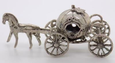 Vintage Solid Silver Italian Made Dollhouse Princess Carriage Figurine Hallmarks