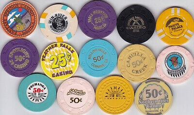 14 Diff. Fractional California Casino Chips-Various Locations And Denominations