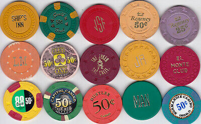 15 Diff. Fractional California Casino Chips-Various Locations And Denominations