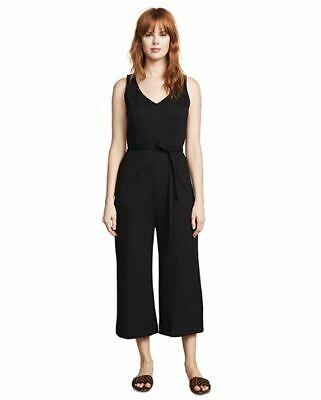 Three Dots Women's Sleeveless Ponte HBY942 Jumpsuit Black Large NEW NWT Wide Leg