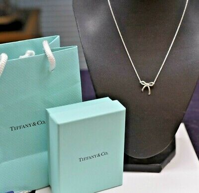 """.925 Sterling Silver Tiffany & Co Bow Necklace 16"""""""