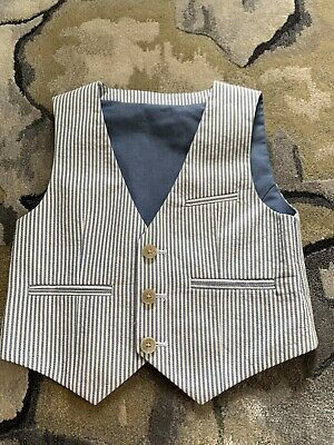 M&S Boys Striped Waistcoat, Worn Once, Age 2-3 Years