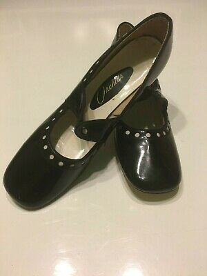 NOS Vintage 60's Black Patent Laced Dolly Mary Jane Shoes Mod Twiggy UK Size 6?
