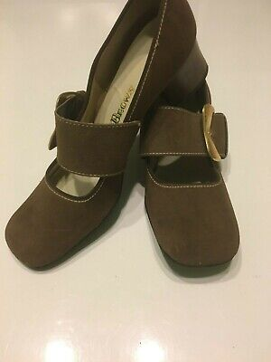 Vintage 60's Mid Brown Dolly Mary Jane Large Buckle Strap Shoes Mod Twiggy UK 6