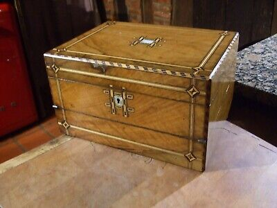Antique Victorian Walnut Combination Sewing Box/Writing Slope Very Rare Piece