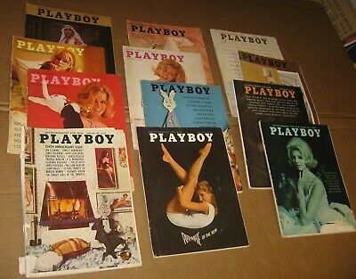 Vintage 1964 Playboy Magazines 12 Issue LOT Complete Year FREE Ship SEE & READ