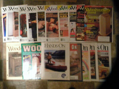 Woodworker's Journal, Hands On Magazine, Build a canoe, file cabinet-Lot of 17