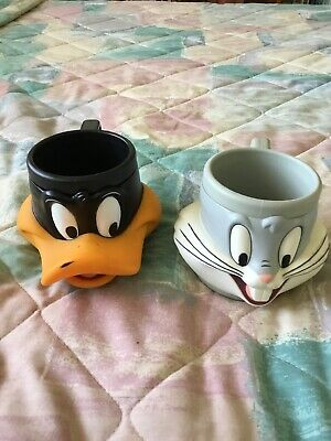 Vintage 1992 Warner Bros. Cups...Bugs Bunny And Daffy Duck...plastic.