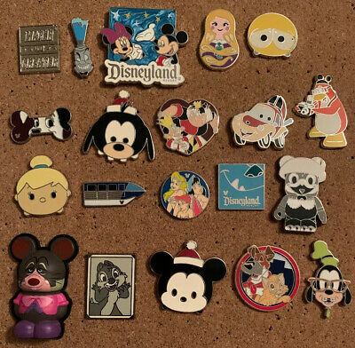 Disney Parks Trading Pin Set lot of 20 Pins - Some New Some Used Hidden Mickey