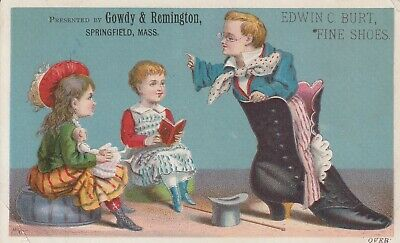 1880's Gowdy & Remington Fine Shoes and Boots Victorian Trade Card Kids Mass.