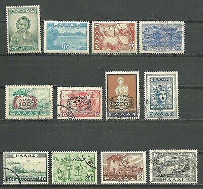 GREECE 1943-1948, Old Greek Stamps, lot of 12, mint and used