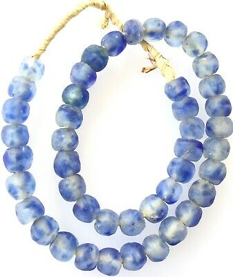 Royal Blue Clear multi Colored Recycled glass African trade beads-Ghana