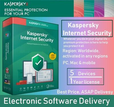 Kaspersky Internet Security 5 Devices 1 Year 2020 Global Full Code via message
