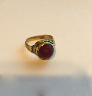 ANCIENT ROMAN GOLD RING WITH RUBY - SIZE 7 to 8,