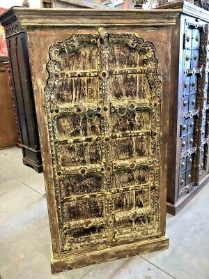 Antique ARCH Doors Cabinet Chest Rustic India Furniture Hand Carved WoodArmoire