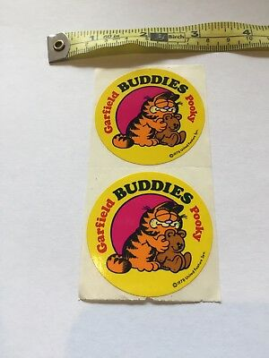 Vintage Stickers - Garfield and Pooky - Set Of Two Joined