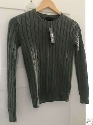 Ralph Lauren Khaki Cable Knit Jumper Size XXS Women's Or Kids From Outlet Store