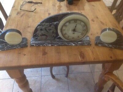 Art Deco Marble Clock And Garniture