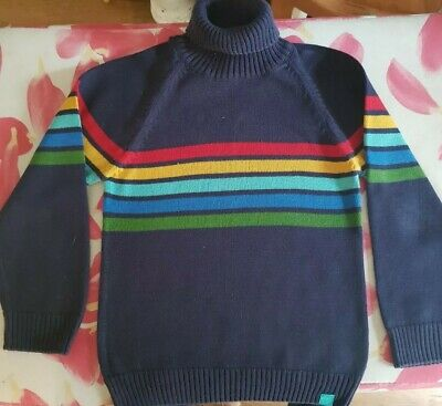 Jools Little Bird for Mothercare Navy turtle neck jumper with stripes. Age 4-5