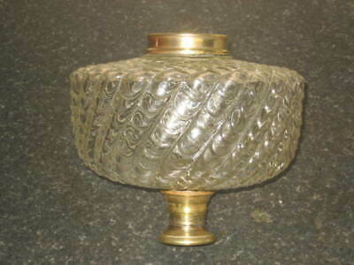 Fine Large  Antique Swirl Ribbed  Clear  Glass Oil Font