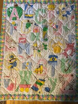 VTG Alphabet & Toys Floral Stripe Quilted Panel Pink Blue Green Yellow White