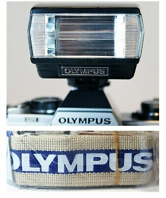 OLYMPUS T20 FLASH unit for OM1 OM2 OM10 with case TESTED + UNUSED CAMERA STRAP