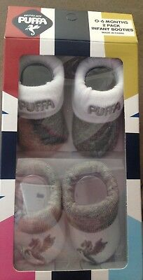 PUFFA 2 PACK OF INFANT BOOTIES - 0/6 MONTHS x 10 boxes