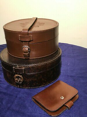 Two vintage men's stiff collar round leather storage boxes and wallet