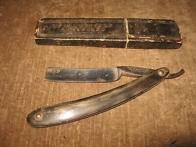"Vintage Wade & Butcher sheffield Straight Razor CURVED TOP 5/8"" w Case"