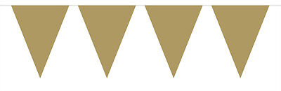 Bunting Gold Glossy Mini 3 mtrs 12 Triangle flags measuring 15x11cms Plastic