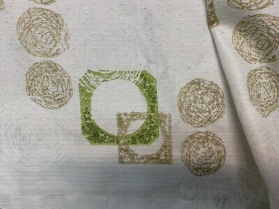 vintage curtains geometric green mid century modern  abstract jade green 60s