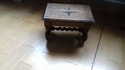 Small Antique Heavily Carved french Oak Footstool Stool Bench (Breton)