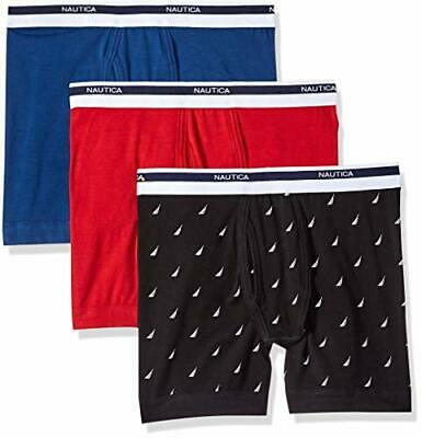 Nautica Men's Cotton Stretch Classic Boxer Brief Multipack,, Black, Size X-Large
