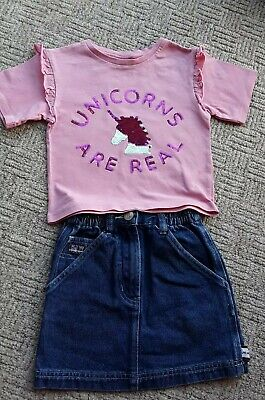 🦄Girls denim skirt & pink 🦄unicorn🦄 t-shirt age 3-4 years VGC 🦄