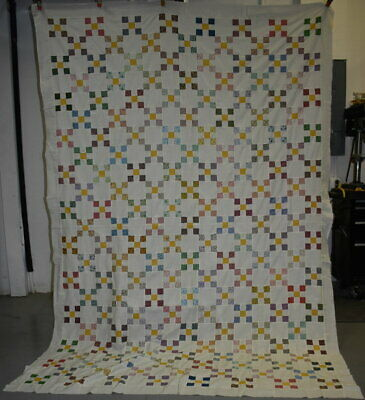 "Antique Hand Sewn Quilt Top, ""Nine Patch Chain"",Small Piecework, #18674"