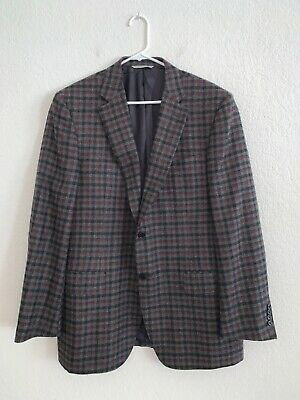 Canali 1934 Silver Label Gray Blue Red Gingham Plaid Cashmere Sport Coat Size 56