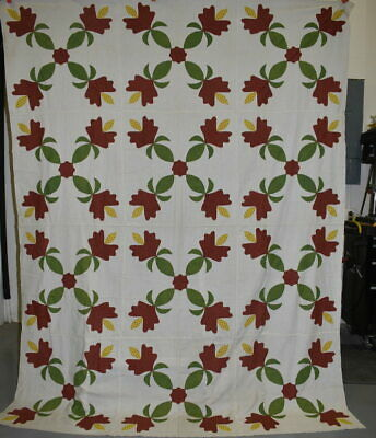 Antique Hand Sewn Quilt Top, Red and Green Floral Applique, #18672