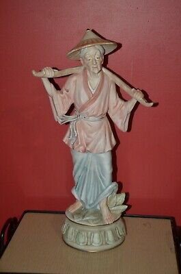 Large Vintage ceramic old Chinese lady  sculpture made in Japan