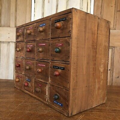 Vintage Scratch Built French Pine Engineers Chest Drawers Apothacary Spice